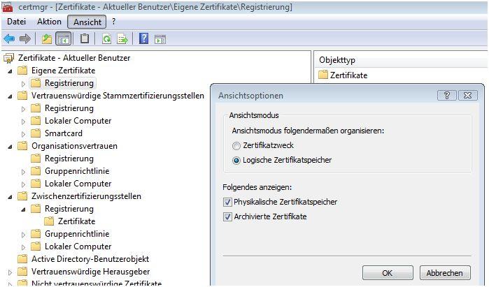 Physikalischer Zertifikatsspeicher in Windows