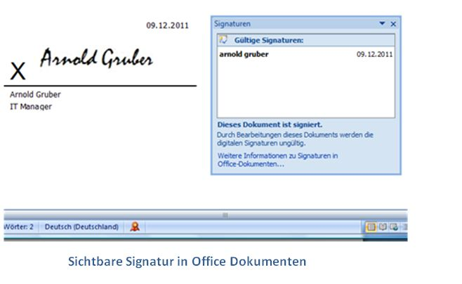 Sichtbare Digitale Signatur in Microsoft Office